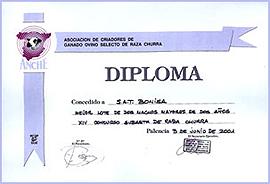 Diploma a las ovejas churras de la empresa en la feria parisina de